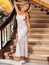 Shirley of Hollywood Long Lace  Sheer White Gown Size Large