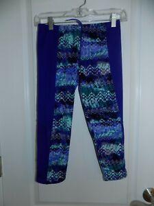 TYR Womens Blue Teal Geo print Capri Swim Legging Tight Sheer S/M EUC Cover up