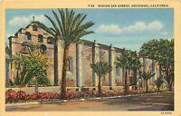 Linen Postcard CA L034 Cancel 1944 Mission San Gabriel Archangel Pasadena LA