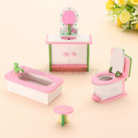 4Pcs Wood Bathtub Bathroom Set DollHouse Miniature Furniture Kids Role Pla