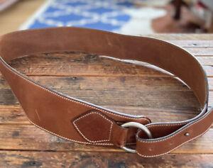 EUC Made In Italy Garnet Hill Ralph Lauren Brown Leather Wide Belt Women Large