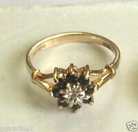 Pretty  Sapphire & Diamond ring  size n1/2   9 ct 375