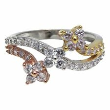 Tri Color Gold Plated Sterling Silver CZ Floral Womens Ring (Size 9)