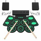 Batterie Électronique Drums Enceinte Baguettes en Bois Pédales Set de 9 Pièces