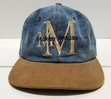 Vintage Mickey Mouse Disney Denim Faux Leather Made in USA Strapback Hat Cap