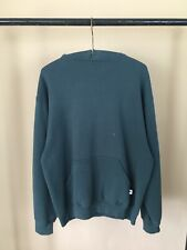 Vintage 90s Russell Athletic Blank Forest Green Hoodie Sz Large Distressed