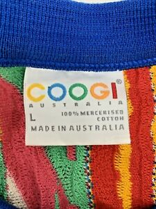 COOGI Men's Sweater Size Large Multicolored 80's 90's Retro Made in Australia
