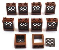 LEGO - 10 Fenster 1x2x2 braun mit Gitter schwarz / 60592 38320 NEUWARE