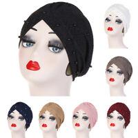 Muslim Women Beads Hijab Turban Hat Pleated Scarf Cancer Chemo Cap Head Wrap New