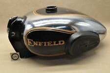 Royal Enfield Bullet Fuel Gas Tank Chrome Black Gold NON EFI w/ Knee Pads AS IS