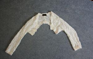 Hochzeits Bolero Braut Jacke Gr. S Spitze Ivory 3/4 arm