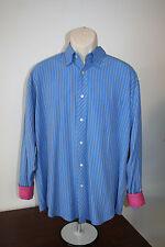 Bugatchi Uomo Mens Dress Shirt Large Button Up Long Sleeve Blue Striped EUC