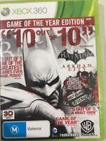 Batman Arkham City Game of the Year Edition GOTY Microsoft Xbox 360 VGC + Manual