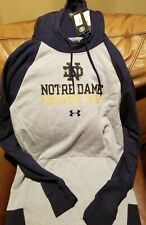 Notre Dame Hoodie Sweatshirt Under Armour Medium M Blue Gray NEW