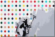 "BANKSY STREET ART CANVAS PRINT Rat painting hirst 24""X 16"" stencil poster"