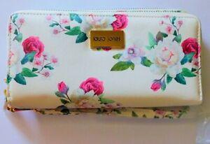 Laura Jones Double Ziparound Purse Wallet Roses