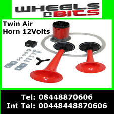 12V CAR VAN AIR HORN TWIN DUAL TONE VERY LOUD WITH RELAY & KIT FOR LANDROVER