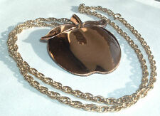 VINTAGE LARGE COPPER APPLE PENDANT GOLDTONE THICK CHAIN NECKLACE IN GIFT BOX
