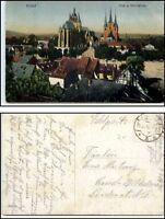 1916 ERFURT auf Feldpost gelaufene AK color Ansicht Panorama Blick Dom Kirche