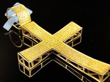 10K Mens Yellow Gold Full Canary Diamond Cross Pendant Charm 1 Ct