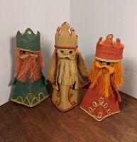 "Vintage Burlap 3 Wise Men - Kings Nativity Craft Figures Christmas 1960s 70s 11"""