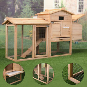 """59"""" Chicken Coop - Rabbit Hutch Hen House w/Nest Box, Outdoor Backyard Garden"""