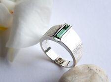 Ring Silber 925 Turmalin  indigolith  Baguette 0,61 Carat 10 x 3 mm Größe 56