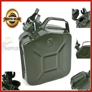 5L METAL JERRY CAN ARMY GREEN CAR STORAGE FUEL PETROL DIESEL WATER CONTAINER