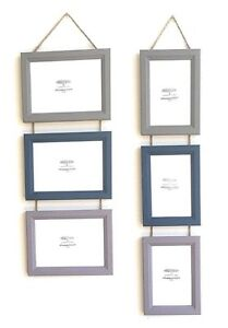 Triple Photo Picture Frame Handmade Hanging Multi 3 in 1 Muted Colours Quality