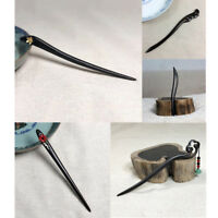 Natural Ebony Wooden Hairpin Forks Bun Chignon Smooth Stick Hair Jewelry