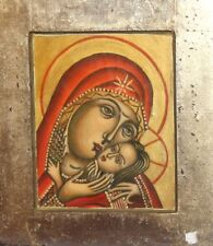 VINTAGE ORTHODOX HAND PAINTED ICON VIRGIN MARY CHRIST CHILD