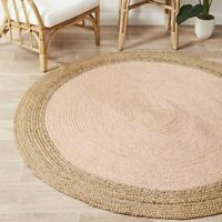 Uyuni Natural Jute Fibre Pink Round Floor Rug (M) 150x150cm **FREE DELIVERY**