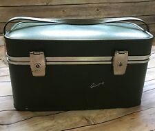 Vtg AIRWAY Luxurious Linings Cosmetic Train Travel Luggage Bag Case hard shell