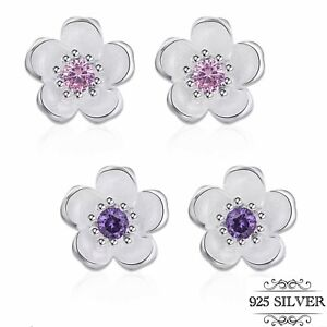 925 Sterling Silver Earrings Daisy Flower CZ Stone Stud Cherry Blossom Jewellery