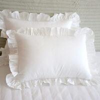 Set of 2 Edge Ruffle Pillow Sham Solid White n Black 650 TC Cotton Square Other
