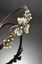 Antique Gold Flower DecorMetal Smoky Gray Color Black Crystal Hair Band Headband