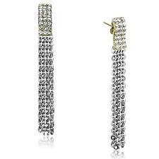 Silver Fringe Earrings 316L Stainless Steel Top Grade Crystal