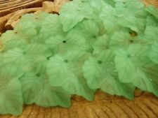 80 pce Frosted Acrylic Green Leaf Beads 24mm x 22mm Jewellery Making Craft