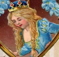 Easter~PRINCESS LOOKS OUT HEART WINDOW at RABBIT & COLORED EGGS~Emboss Postcard