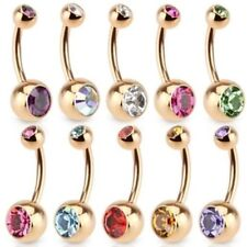 DOUBLE CZ GEM ROSE GOLD-TONE IP STEEL BELLY NAVEL RING BUTTON PIERCING JEWELRY