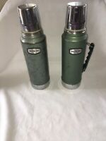 2 Vintage Aladdin Stanley Vacuum Chrome Stainless Steel Thermos Model A-944C H