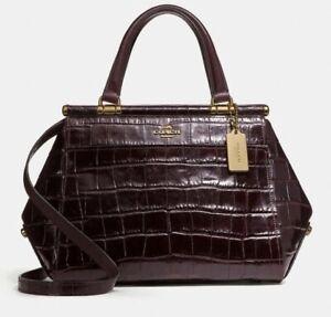💚 COACH Grace Bag Satchel Croc embossed Leather Purse Handbag Plum $495 NWT