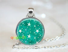 Teal star Aquatic Star Glass dome Tibet silver Chain Pendant Necklace wholesale