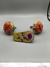 Vintage Tin/Metal Graphic Party Noise Makers Metal Toys Lot Of 3