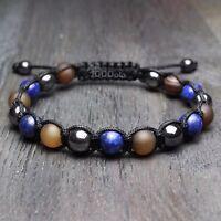 Bracelet STYLE Tibétain Homme perles 8mm en Pierre Agate Lapis Lazuli Hématite