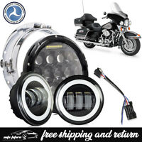 """Fit Harley Electra Glide Ultra Classic Black 7"""" LED Headlight + Passing Lights"""