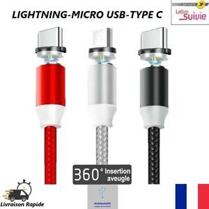 Câble USB Cordon Chargeur Magnétique LED pour Type-C Micro USB Charge Rapide