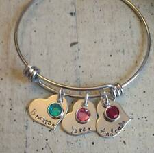 3 Heart Child's Name Birthstone charm Bangle Bracelet Custom Personalized Mother