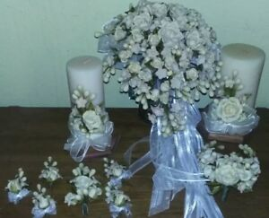 Cascading White Roses Clay Bridal Bouquet, Candles, Accessories 12 Pieces