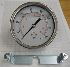 "Pressure gauge 100mm 0 - 11 bar Panel mount with back clamp 3/8"" BSP damped"